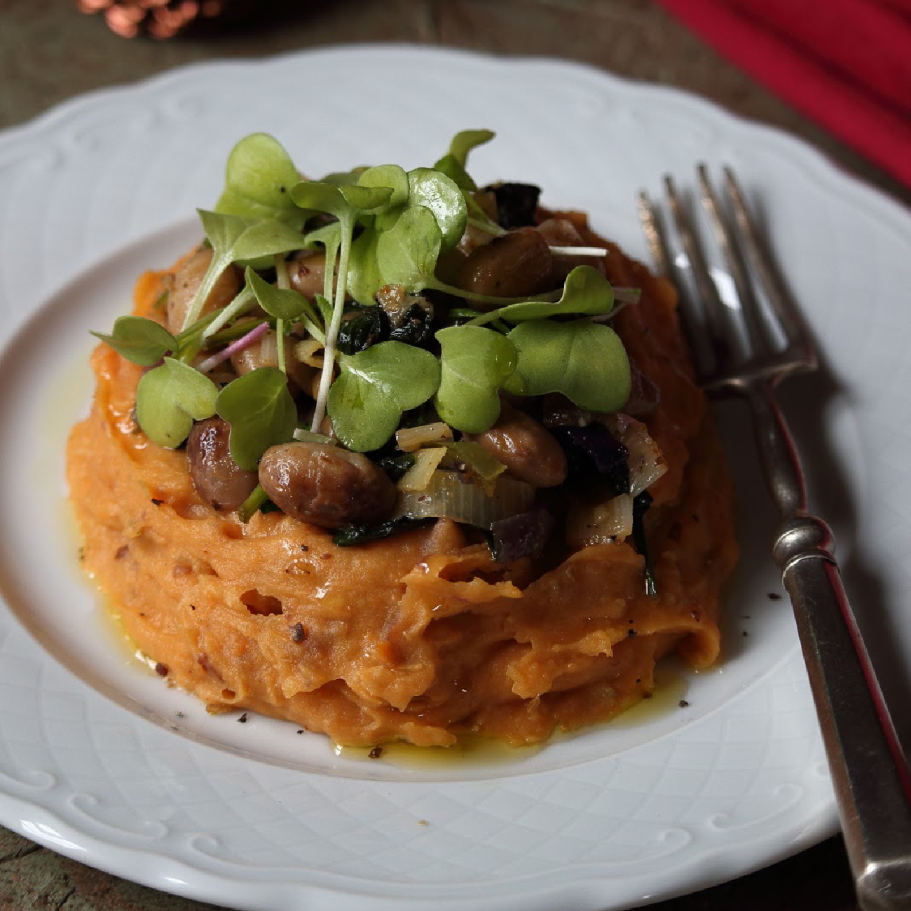 Sweet Potato Puree with Sautéed Beans in Beer