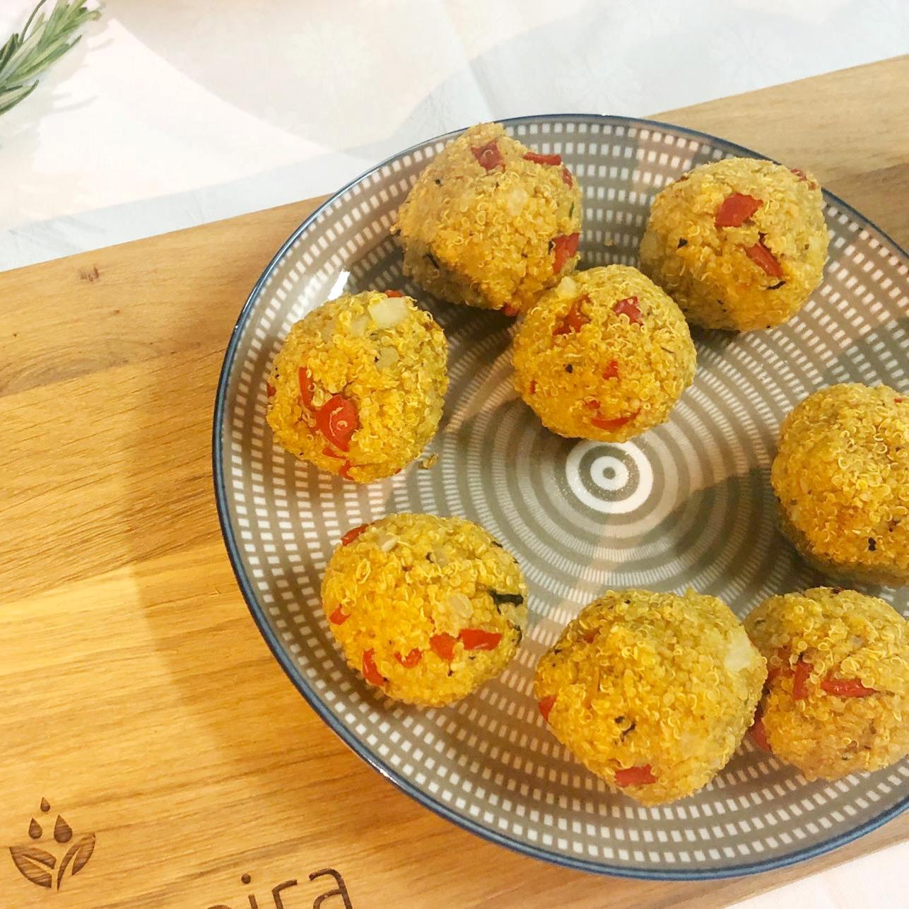 Quinoa Balls with Minty Yogurt Dressing