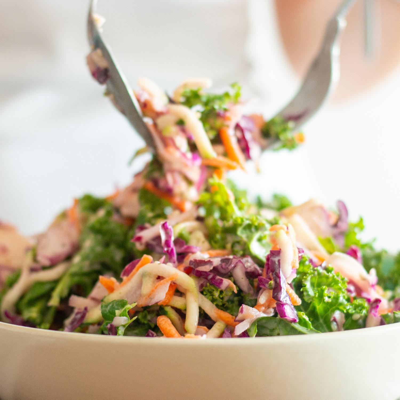 Summery Kale slaw with vegan yogurt dressing