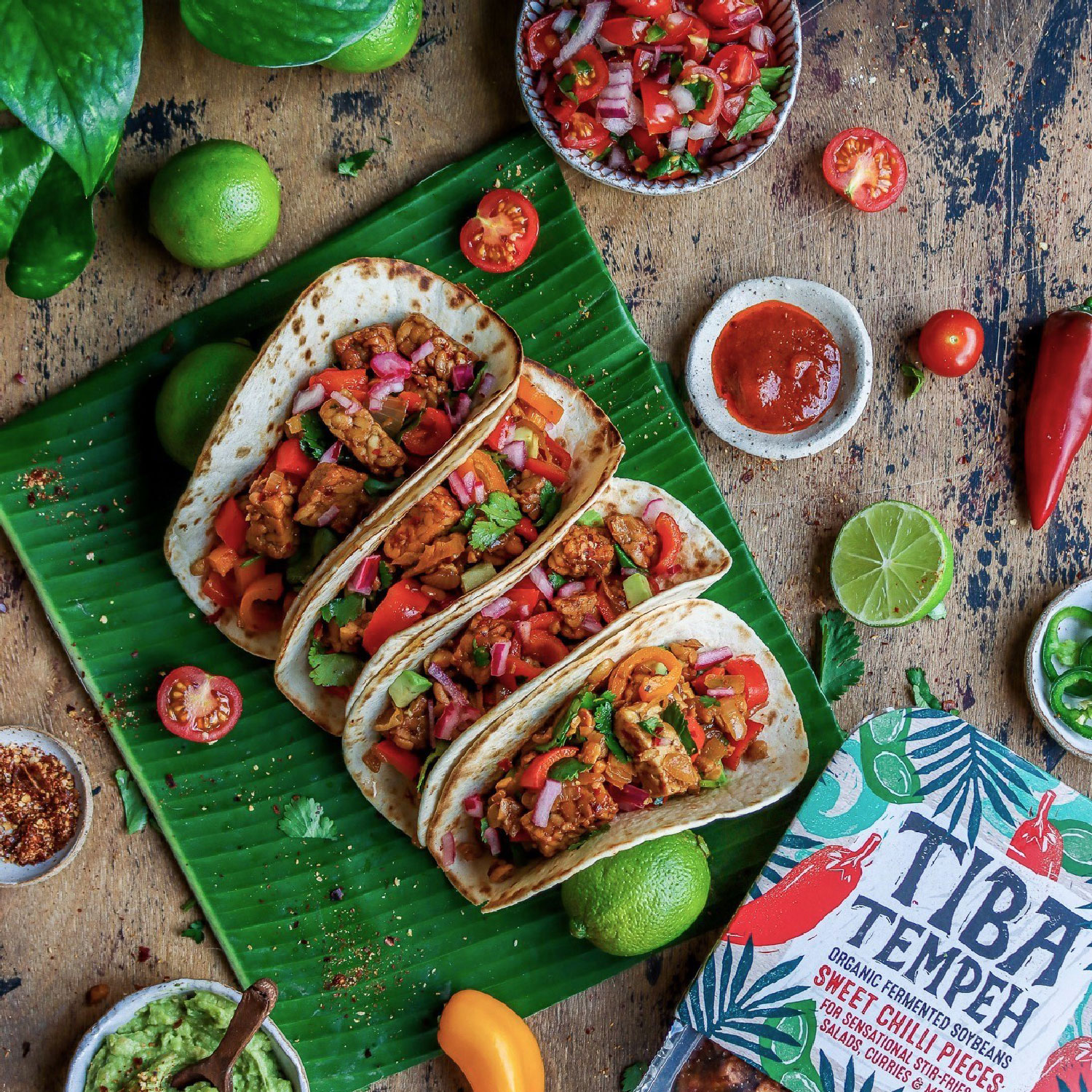 Sweet Chilli Tempeh Tacos