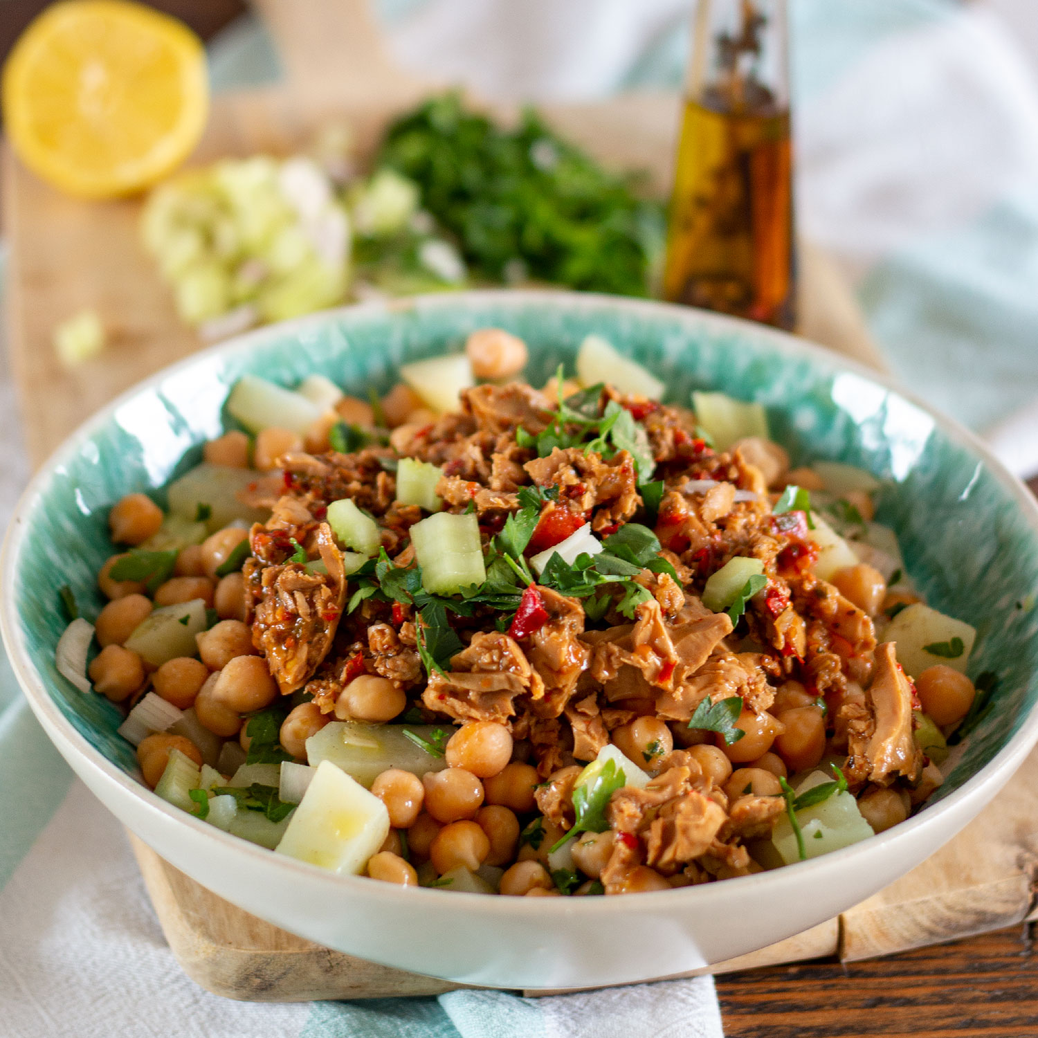 Warm Tuna Chickpea Salad
