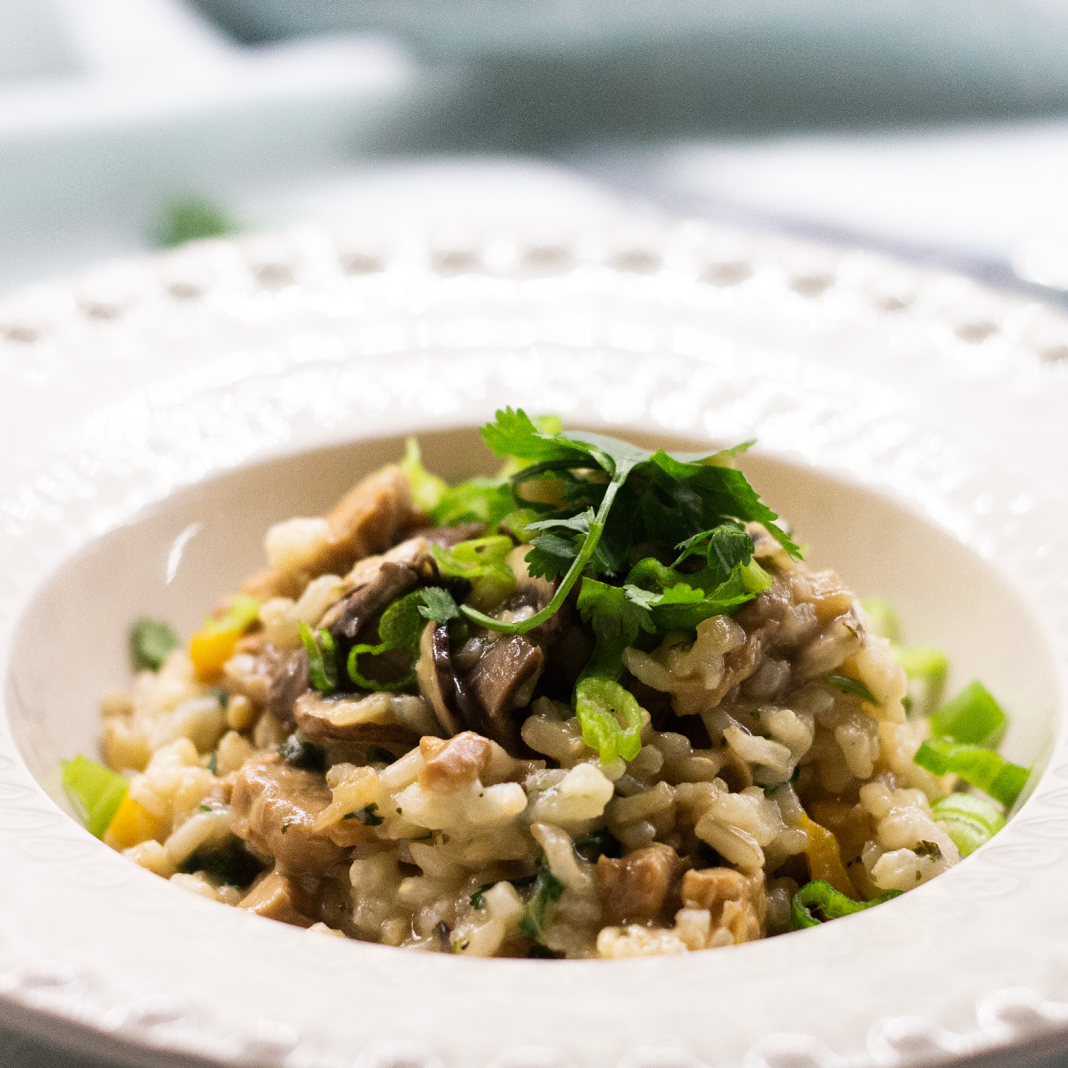 Mushroom Risotto with Mint & Parsley oil
